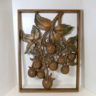 Syroco Wood Wall Plaque Vintage Raspberries Natural Finish