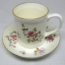 Vtg Crown Staffordshire Cup & Saucer CRS114 Roses Fluted Fine Bone China