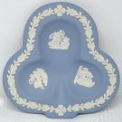 Vintage Wedgwood white on light blue jasper trinket dish shamrock shape