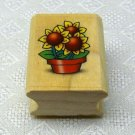 Noteworthy Rubber Stamp Flower Pot Sunflowers