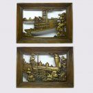 2 Vintage Dart Industries Wall Plaques Steam Engine and Paddle Wheel Boat