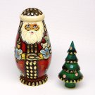 vtg Russian Matryoshka Santa and tree nesting figurine Christmas