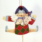 vintage pull string jester Midwest of Cannon Falls Christmas ornament