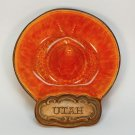 Vtg Mid Century Utah sombrero ashtray Treasure Craft USA lava orange red glaze