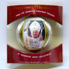 vtg Pope John Paul II gives his blessing ornament Christmas1980 Bradford Novelty satin pkg