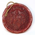Vtg red wax seal souvenir from Regensburg Germany St. Peter heraldry hanging
