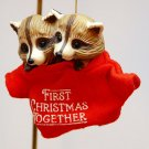 Vintage First Christmas Together Hallmark Christmas ornament QX4459 raccoons 1987 no box