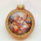 Divine Angels blown glass Christmas ornament silk picture cherubs