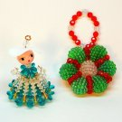 2 Vintage plastic wired bead Christmas ornaments lady and wreath