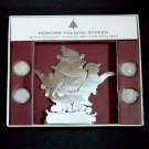 Christmas folding tabletop penguin screen Eddie Bauer 7 panels with 4 tealights 38 inches