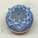 vintage Japanese Temari thread ball Christmas ornament blue