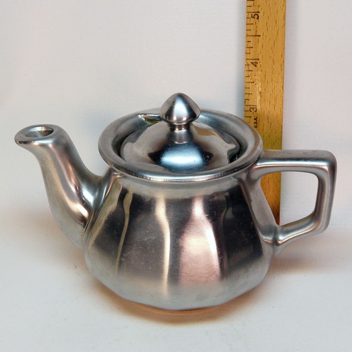 Vintage Lusterware ceramic teapot for one pewter color