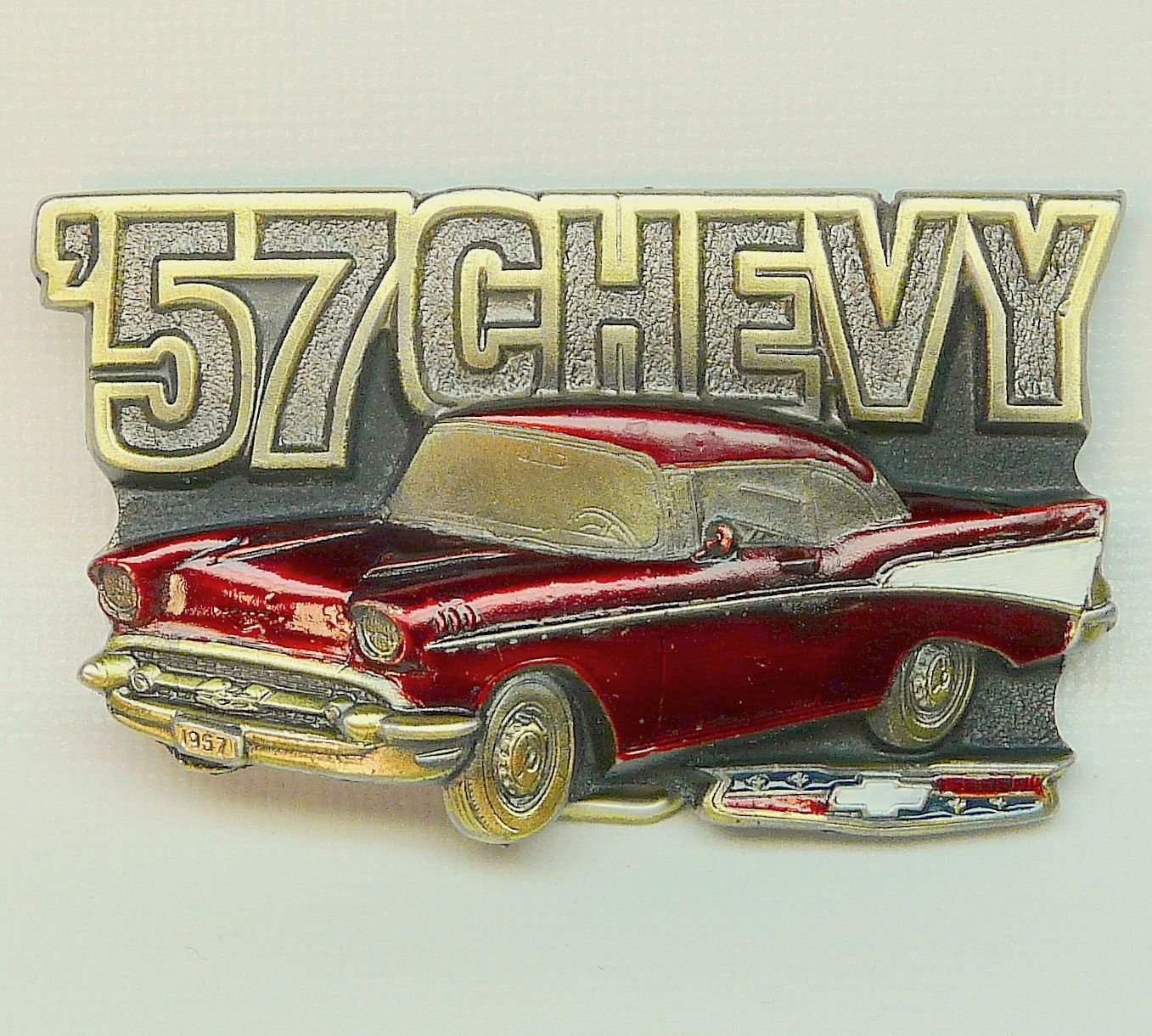 Vtg 57 red Chevy Bel Air belt buckle The Great American