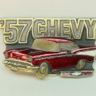 Vtg 57 red Chevy Bel Air belt buckle The Great American Buckle Co USA