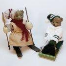 2 vintage Christmas bear figurines sledding skiing boy girl winter sports