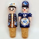 2 vintage Russian bottle stoppers wooden man and woman hand painted