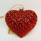 Heart ornament red with rhinestones Christmas glass