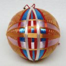 vintage small Japanese Temari thread ball ornament orange blue red