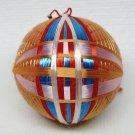 vintage small Japanese Temari thread ball ornament orange blue red
