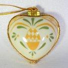 Porcelain hinged heart shaped Christmas ornament A Joyful Heart white yellow green pineapple