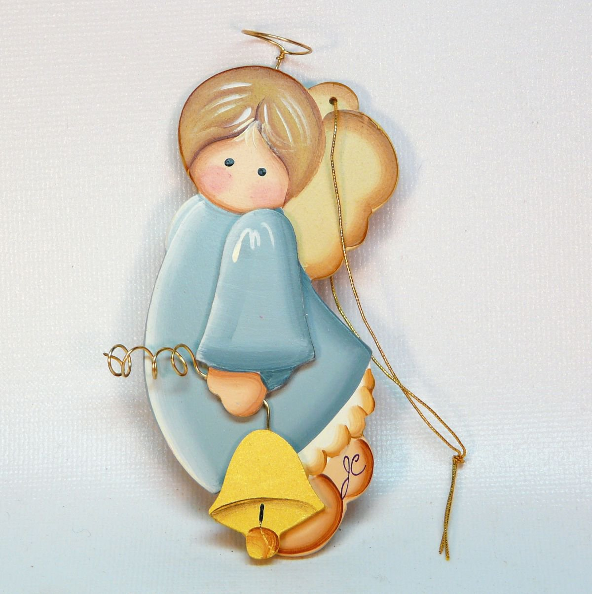 Hand Painted Wooden Angel Christmas Ornament Holding Bell Artist Signed Jc