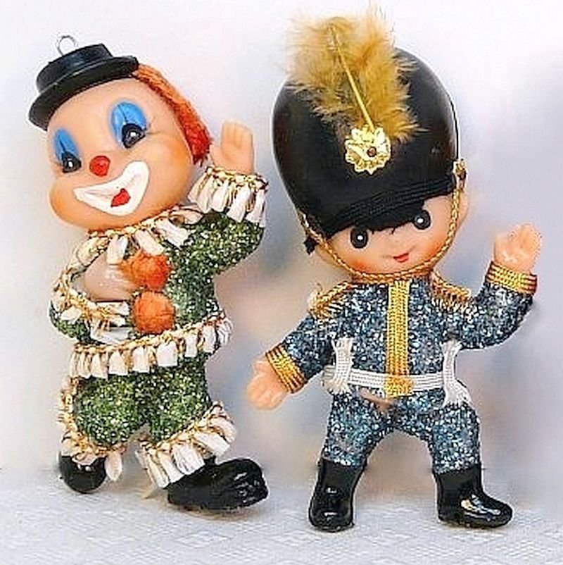 2 vintage soldier and clown Christmas Ornaments with glitter