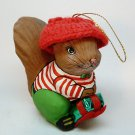 Paper mache squirrel boy Christmas ornament
