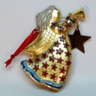 Cloisonne angel with horn Christmas ornament