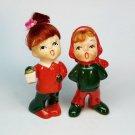 Vtg Napco Christmas figurines boy and girl red hair Japan National Potteries carolers