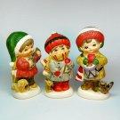 3 Vtg Napcoware Christmas figurines children musicians Japan National Potteries Napco