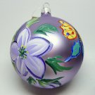 Large lavender hand painted Christmas Ornament flowers and butterflies Italy glass ball