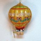 Santa hot air balloon tin Christmas ornament 1993