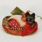 Siamese cat in a basket Christmas ornament