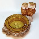 Vintage owl nest ashtray ceramic with amber glass insert