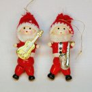 2 little wooden Santa Christmas ornaments with violin and saxophone