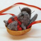 Tiny miniature mouse in walnut shell Christmas ornament