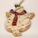 Hand carved wooden snowman Christmas ornament Canada