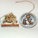 2 Boyds Bears pressed board Christmas Ornaments 1996 and 1997