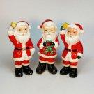 3 Vintage Christmas Santa salt or pepper shakers Japan