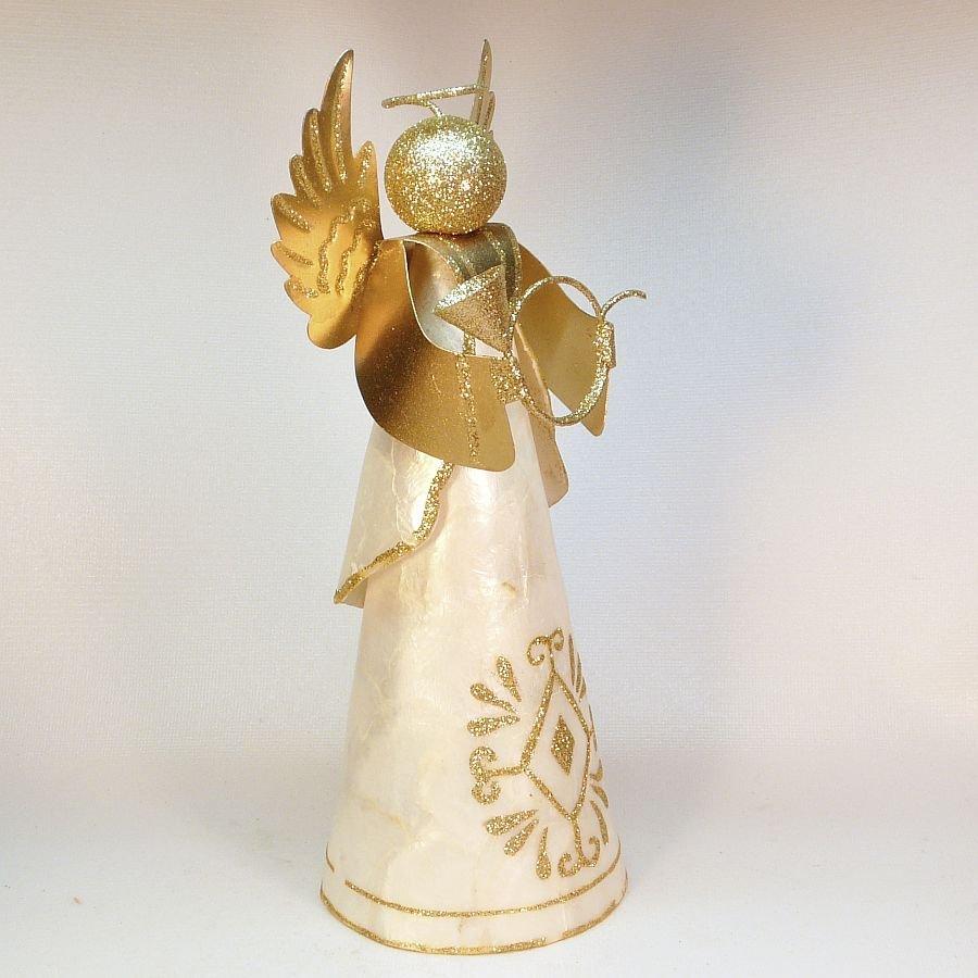 Capiz Shell Christmas Angel Figurine Tree Topper 10 Quot High