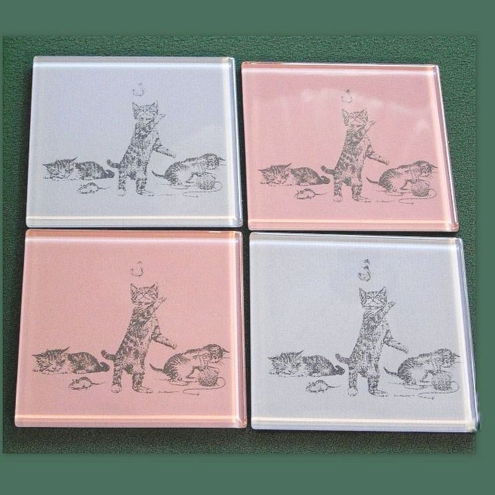 4 cute kitten coasters pink and blue glass
