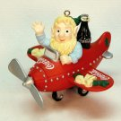 Coca-Cola Holiday High Flyer Christmas Ornament elf on a plane