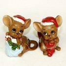 2 vintage Josef Originals Chrisrmas mouse figurines Japan