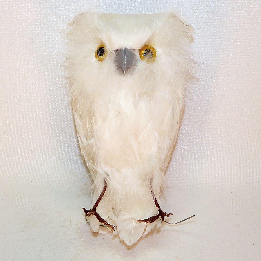 White owl feather Christmas ornament