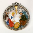 Vintage Nativity painted pewter Christmas ornament Germany
