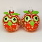 2 owl Christmas ornaments red and green with polka dots blown glass