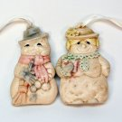 Mr and Mrs Snowman vintage ceramic Christmas ornaments