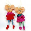 2 Vintage mice Christmas ornaments made in Japan