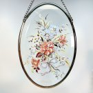 Vintage Lyford beveled glass suncatcher with flowers floral bouquet carnations daisies