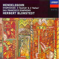 mendelssohn symphonies 3 Scottish & 4 Italian - SFS with blomstedt CD 1993 decca mint